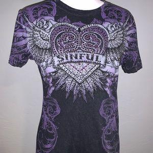 Sinful by Affliction Rhinestone T-shirt